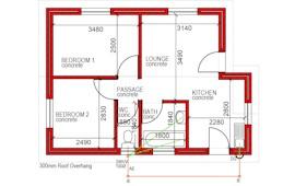47 m² 2 bed 1 bath